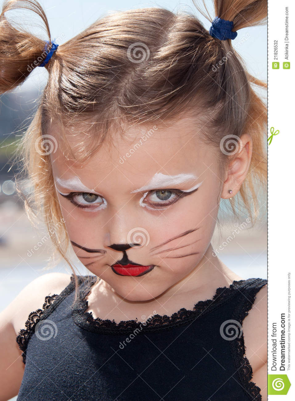 Child With Kitty Cat Make Up Stock Photography - Image: 21826532