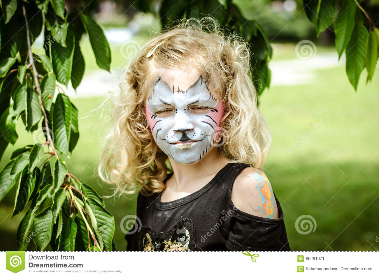 Child With Kitty Face,painting Stock Image , Image of child