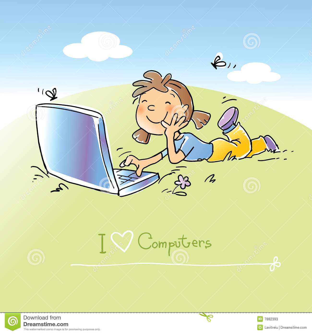 Child with laptop computer