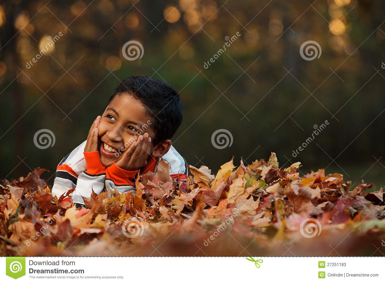 Child Laying on Autumn Leafs