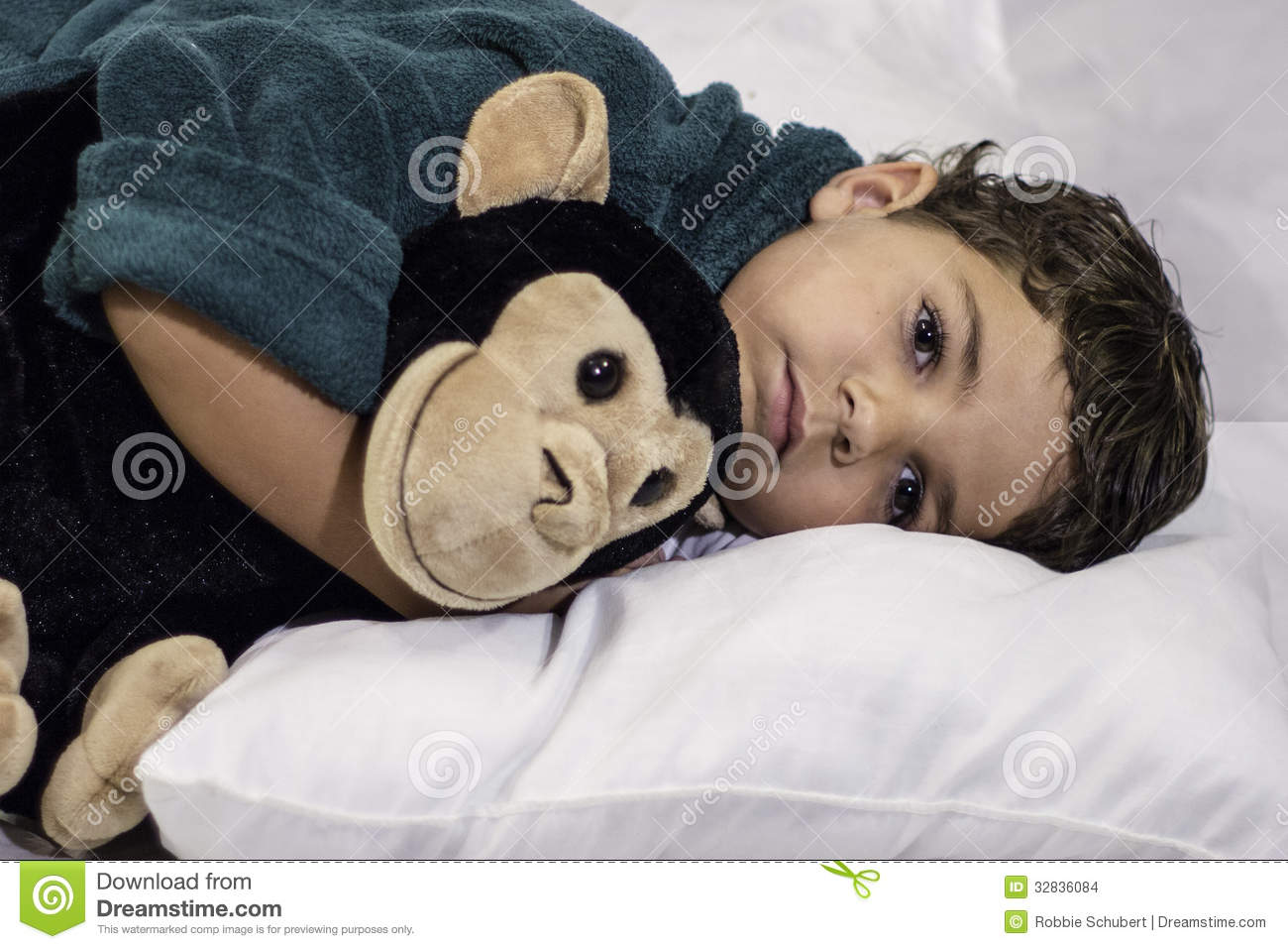 child laying in bed stock photo. image of people, caucasian - 32836084