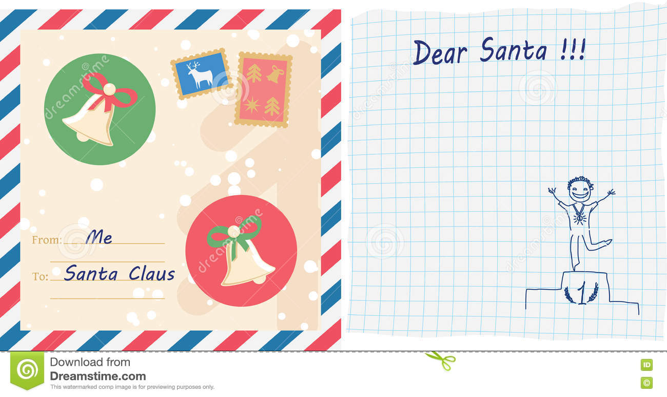 Child letter to santa claus stock illustration illustration of writting a letter to santa postal envelope with stamps handwritten wishlist with child drawing on squared paper vector illustration spiritdancerdesigns Gallery