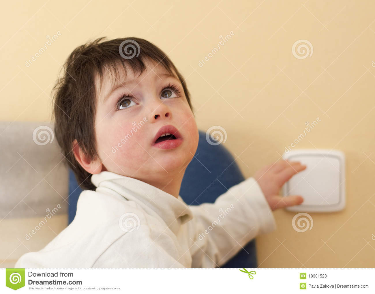 Child And A Light Switch Stock Photo Image Of Caucasian