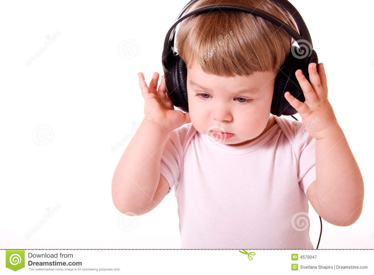 Royalty free stock photography child listening to the music