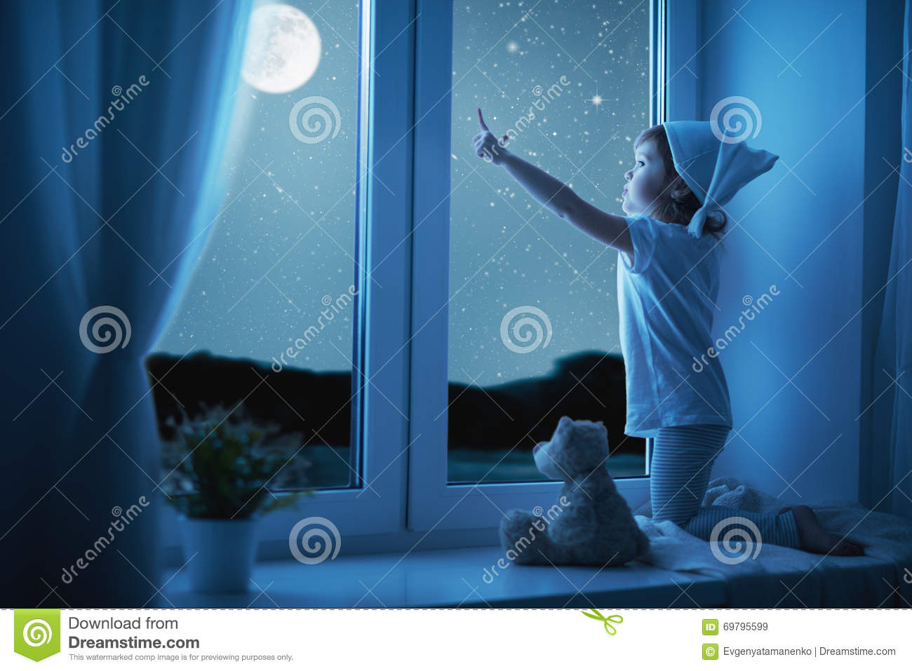 Child Little Girl At Window Dreaming And Admiring Starry