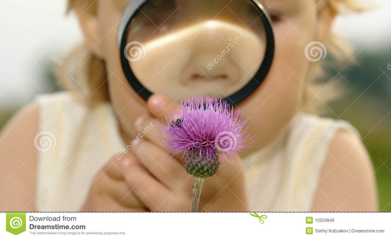 Child looking at flower through magnifying glass