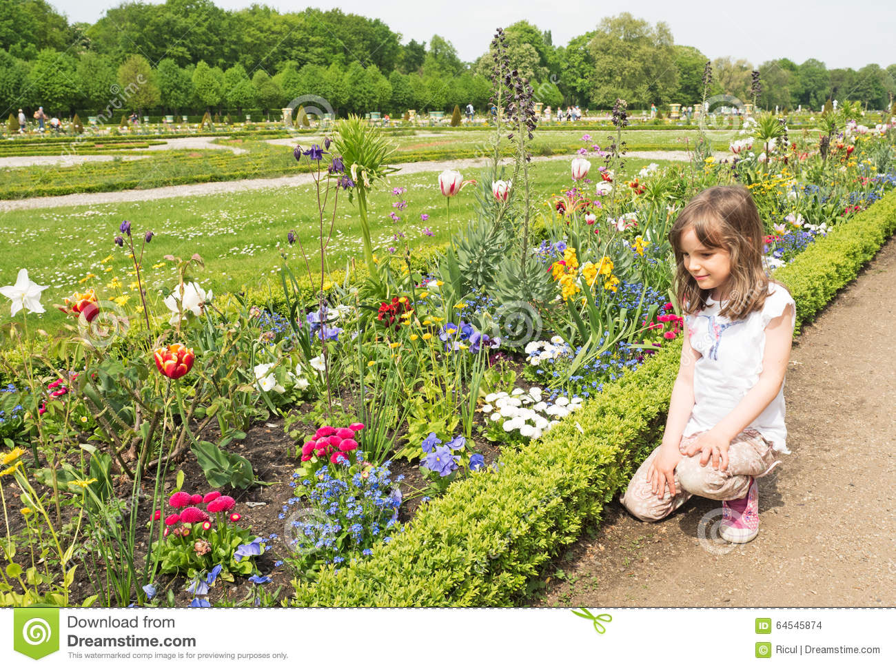 child looking at flowers in springtime stock photo  image, Beautiful flower