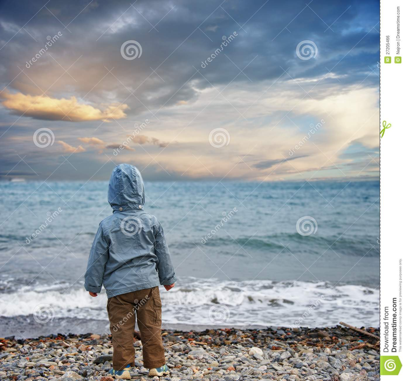 Child Looking At The Sea Royalty Free Stock Image Image