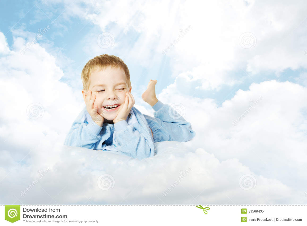 Child Lying Down On Cloud Pillow Over Sky Stock Image