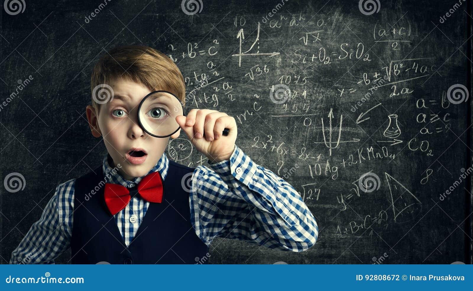 Child Magnifying Glass, Amazed School Kid, Student Boy with Magnifier Study Mathematics, Math Education