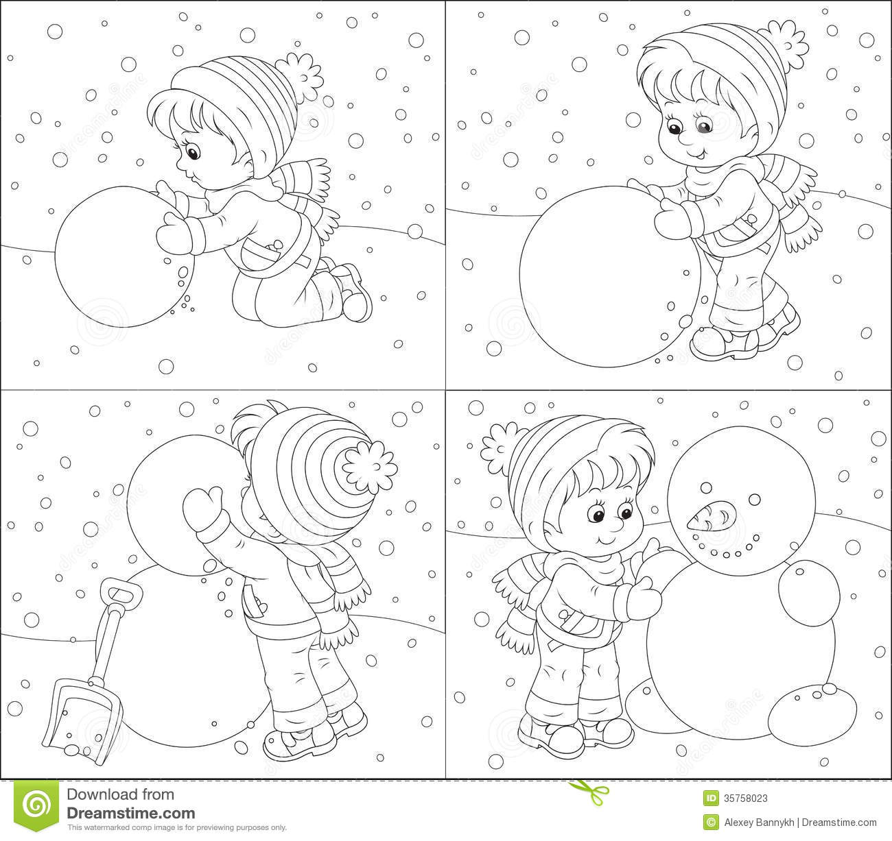 ... , black and white outline vector illustrations for a coloring book