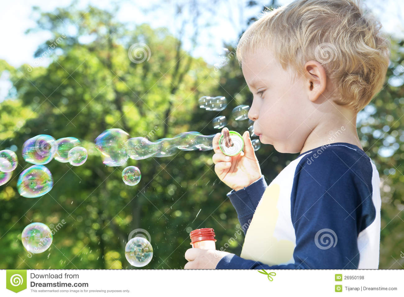 Child Making Soap Bubbles Stock Photo Image Of Outdoors 26950198