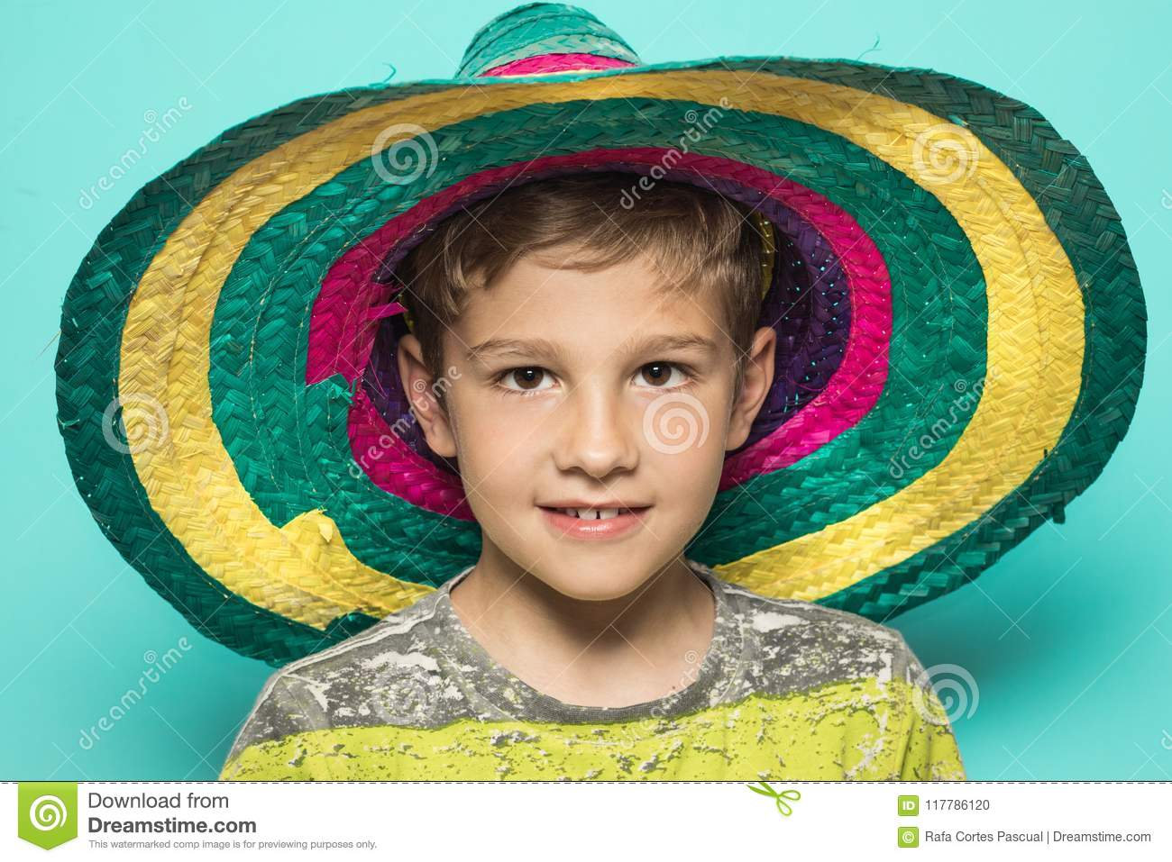 Child with a Mexican hat