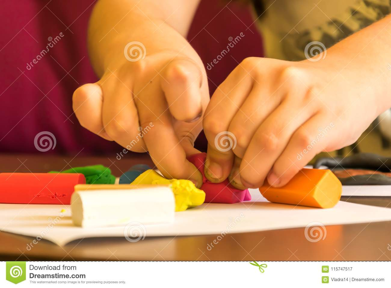child modeling plasticine for school art class stock image image