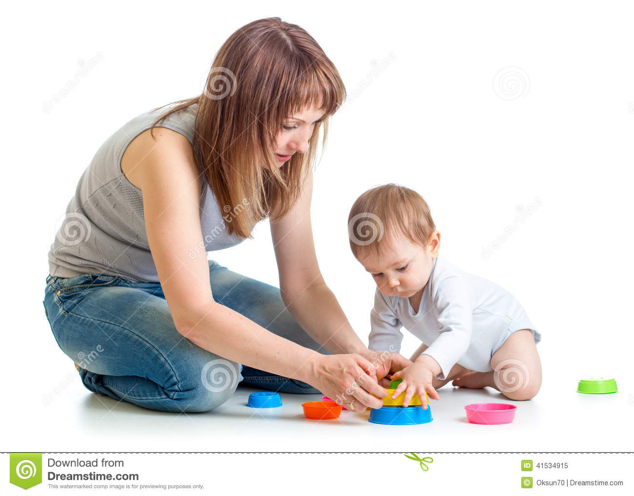 Mom Play Toys : Child and mom play with block toys stock image