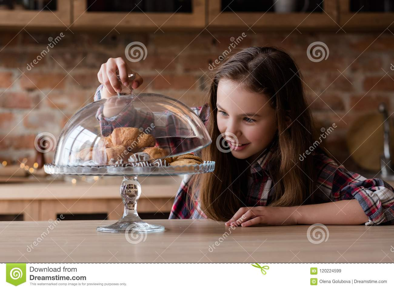 Child Nutrition Unhealthy Habits Pastry Croissant Stock..