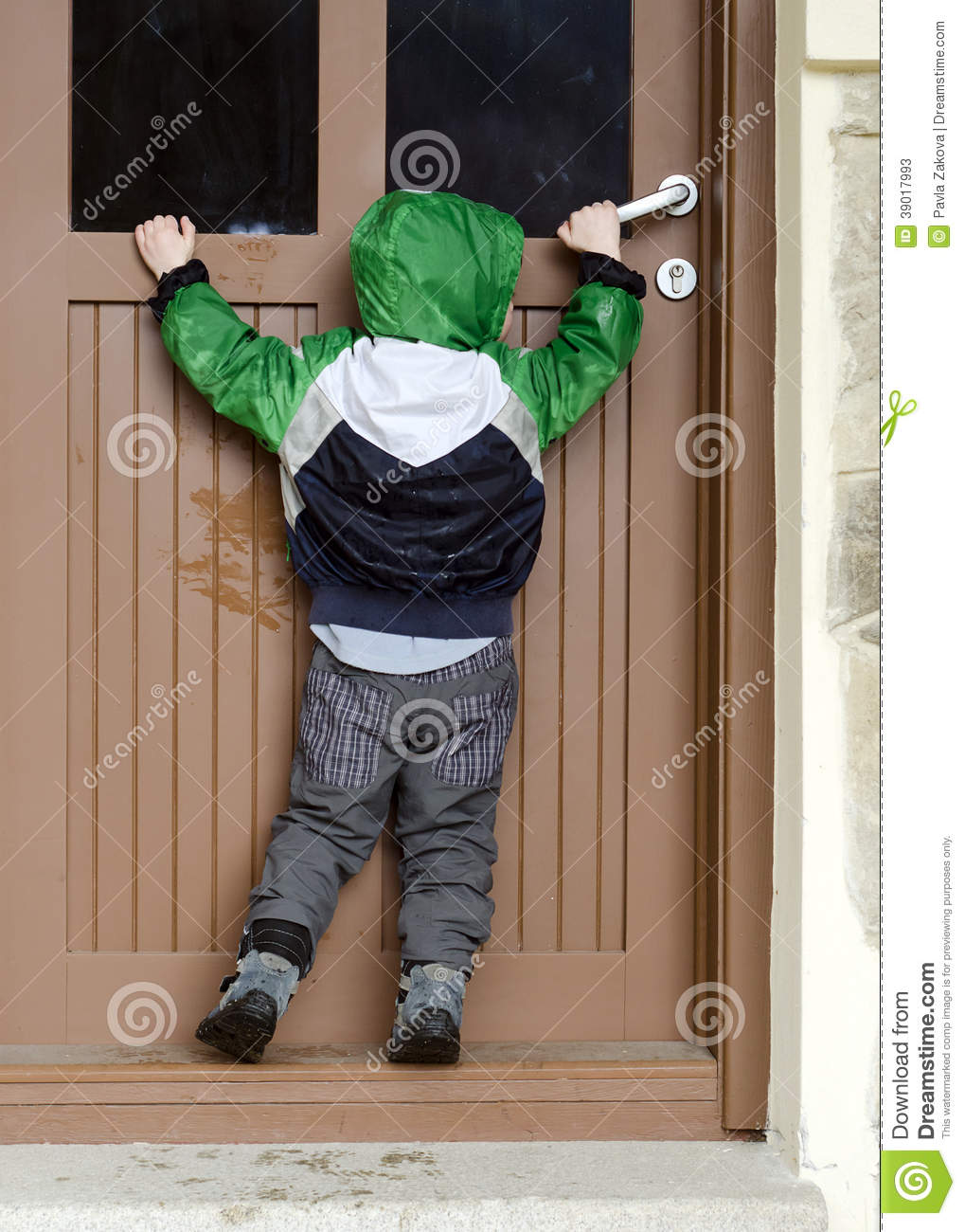 Child Opening Door Stock Photo Image 39017993