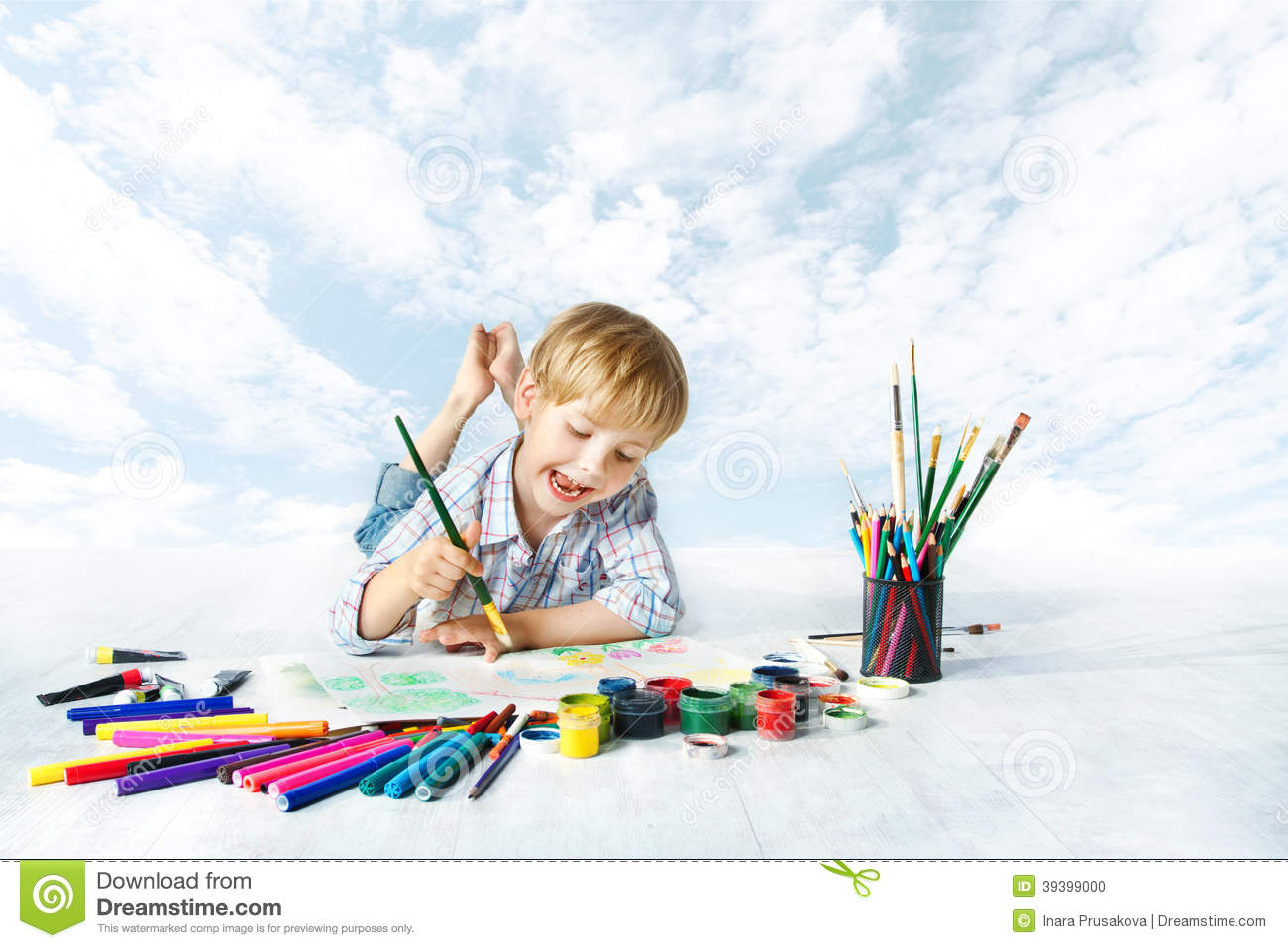 Child Painting With Color Brush, Drawing Tools, Creative Kid Stock ...
