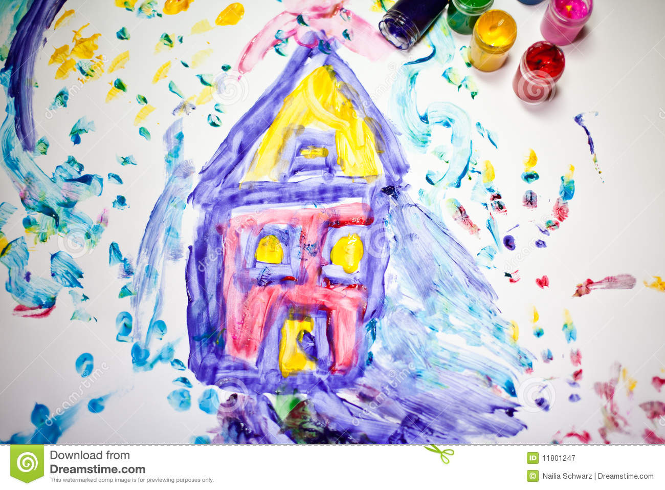 child painting of a house royalty free stock photo image 11801255