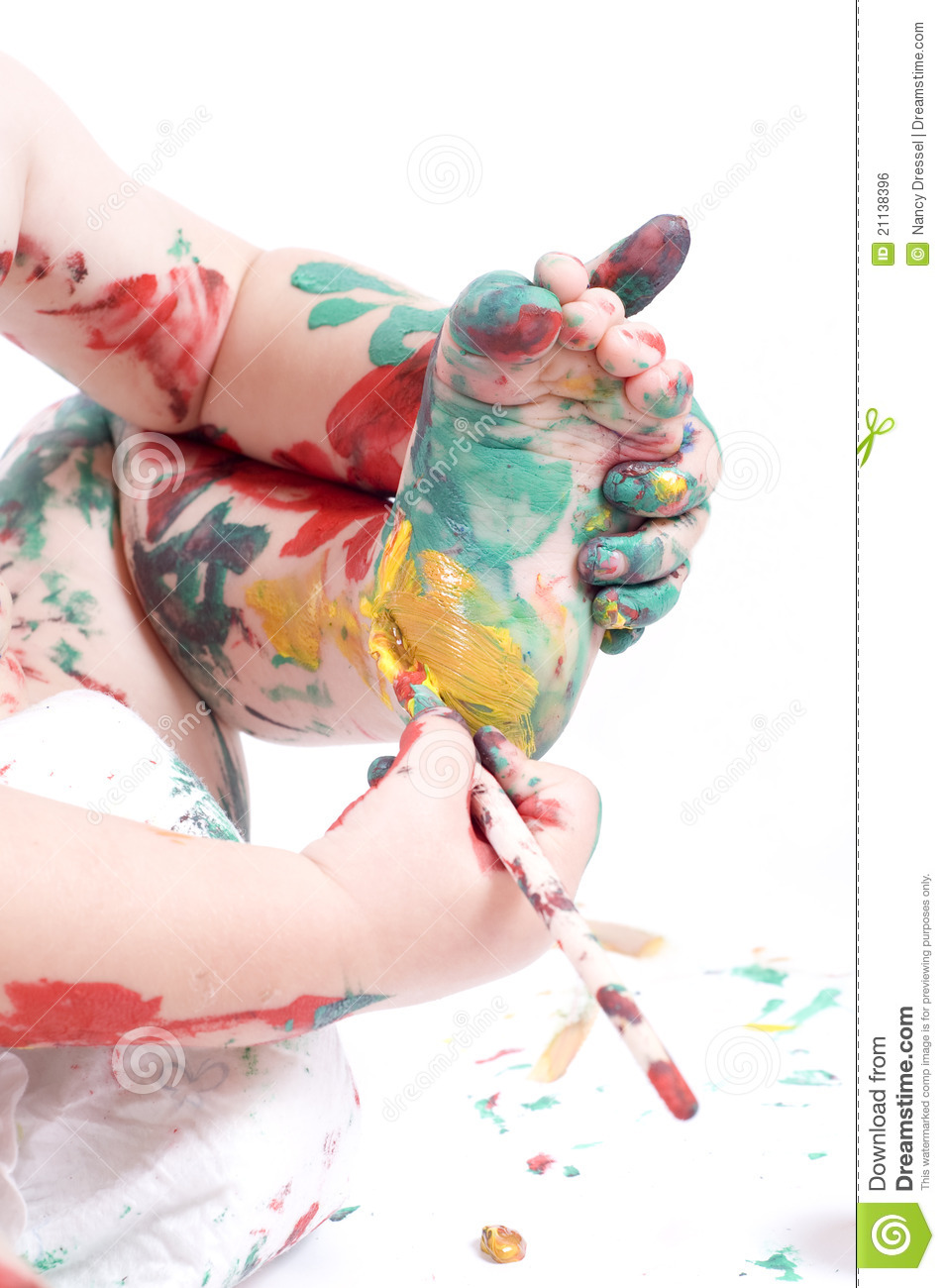 Child painting its feet