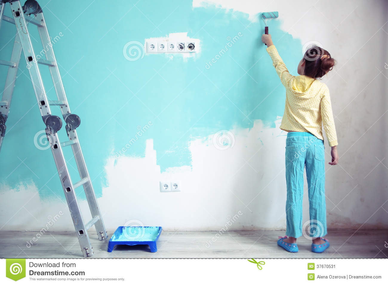 Child painting the wall stock image image 37670531 Paint of wall