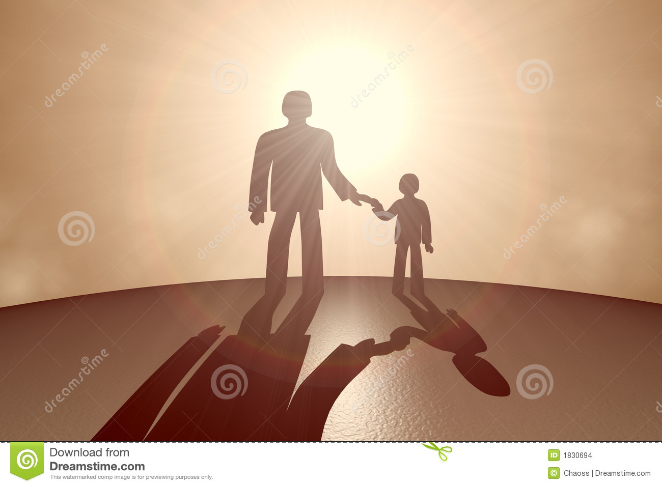 Child and parent opposite the sun