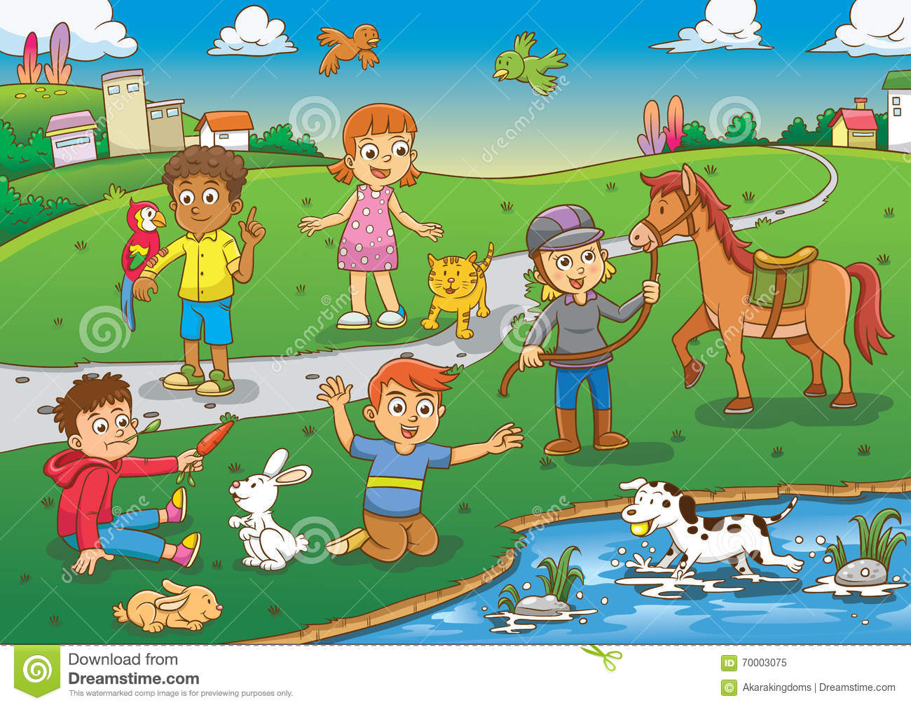 Child And Pet In The Park Cartoon Stock Vector - Image ...