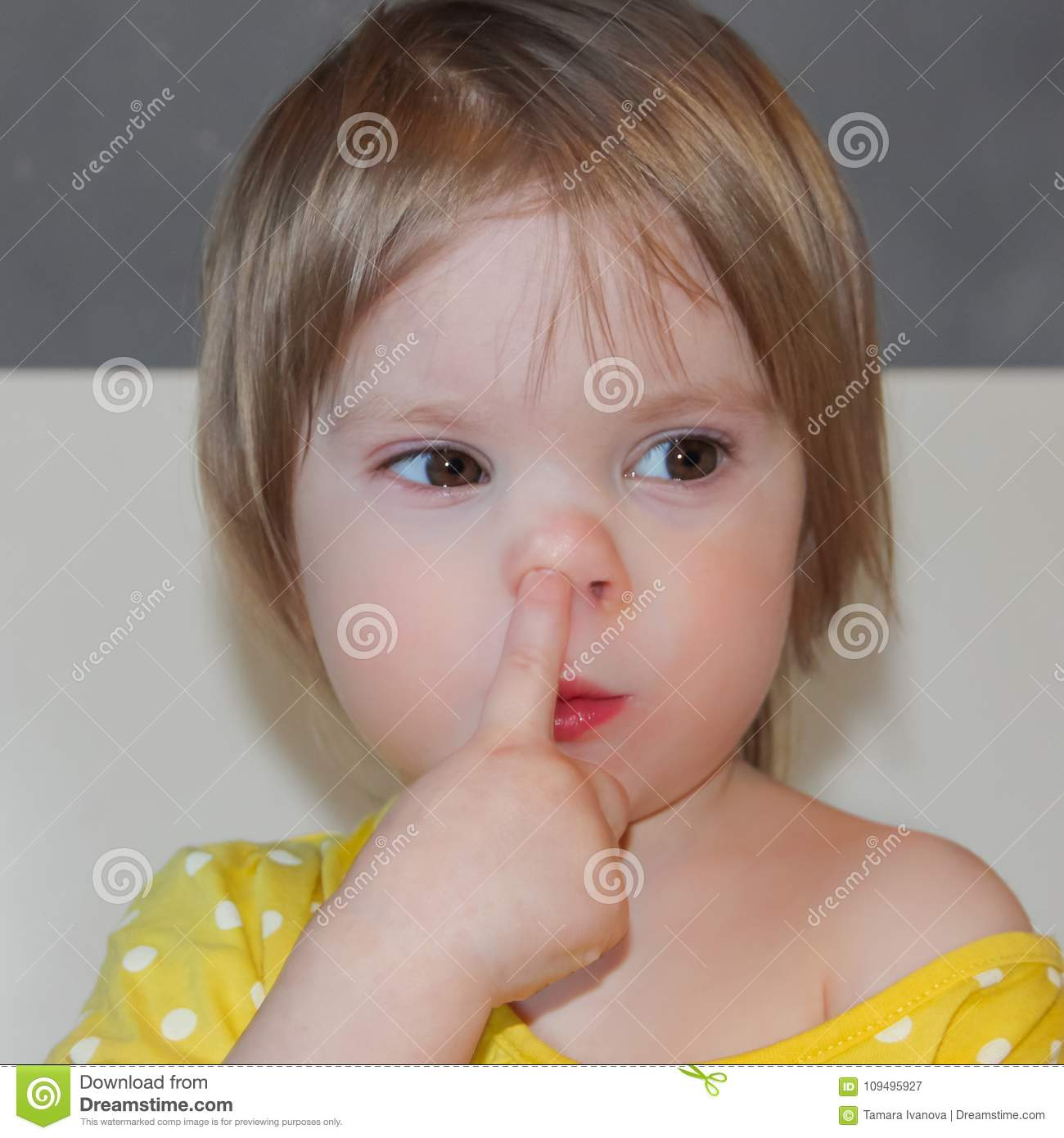 The Child Is Picking His Nose A Little Girl A Bad Habit