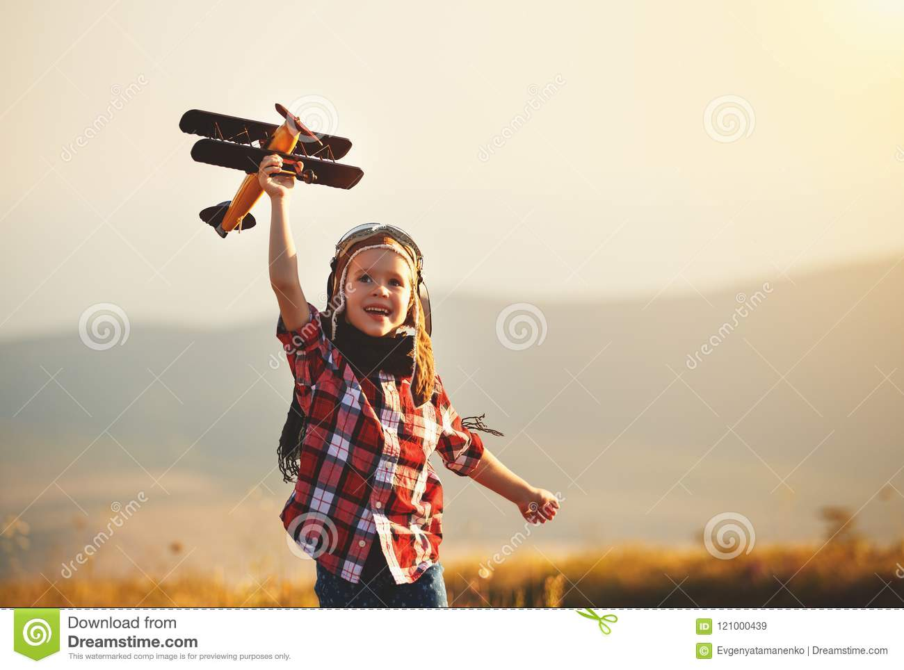 Child Pilot Aviator With Airplane Dreams Of Traveling In
