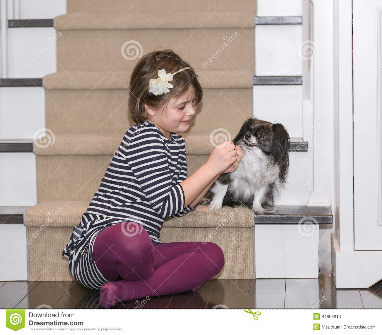 A child play with a dog inside the house stock image for Dog home boarding near me
