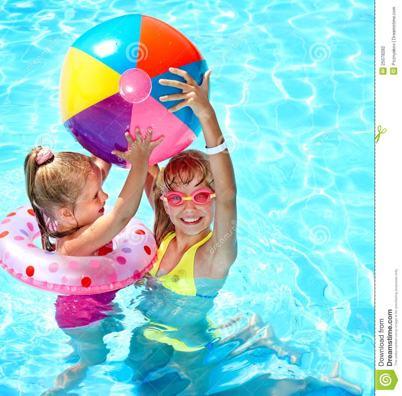 Child Playing With Ball In Swimming Pool Stock Photo Image 25078282