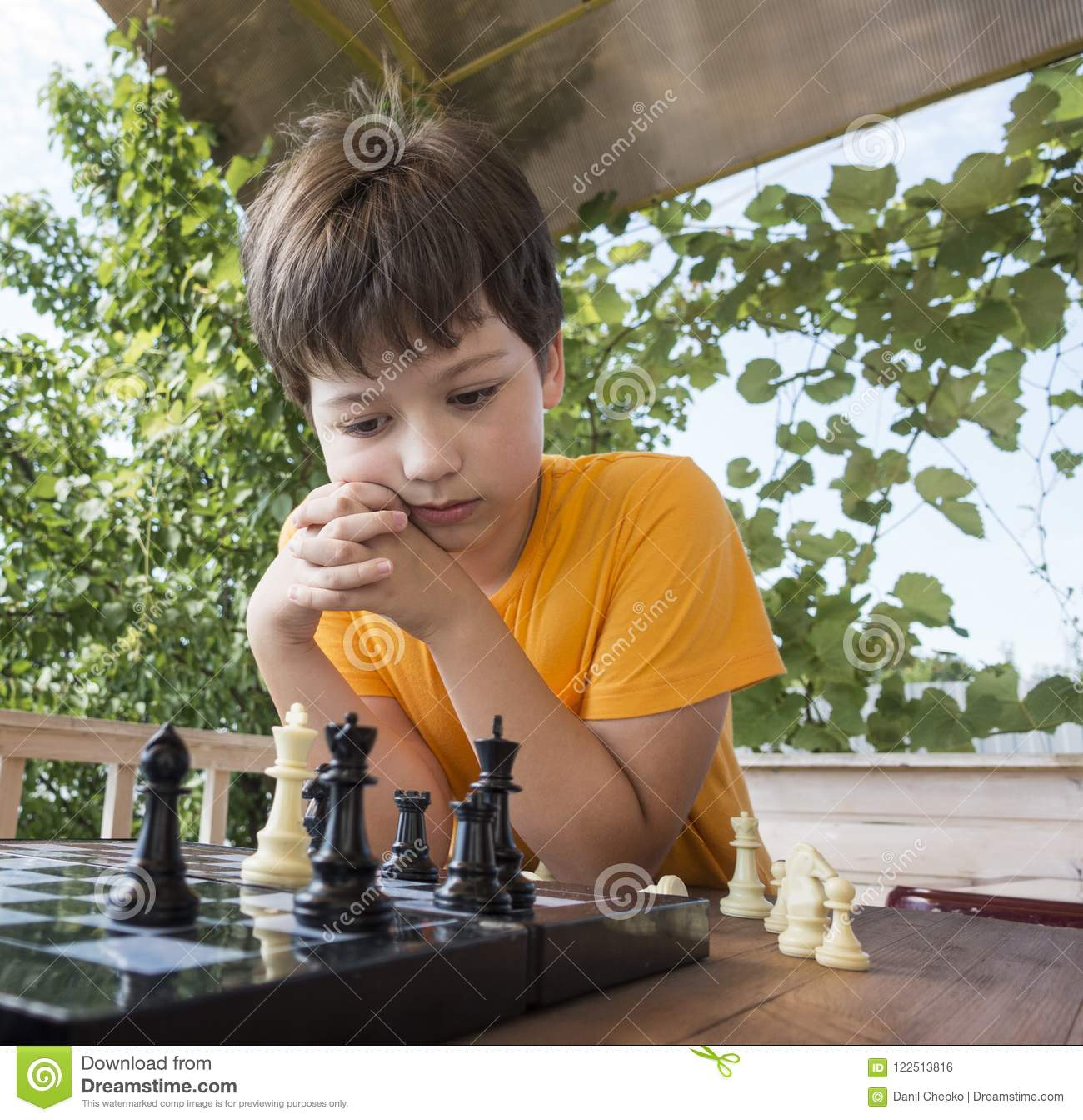 Download Child Playing Chess Outdors, Young Boy Making A Move Stock Photo - Image of learn, human: 122513816