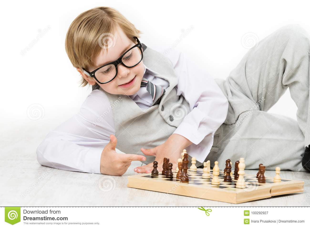 Child Playing Chess, Smart Kid Boy in Business Suit Glasses Play
