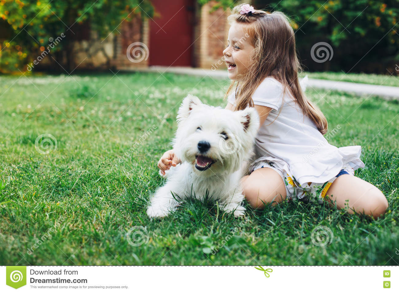Download Child playing with dog stock image. Image of friend, grass - 74211073