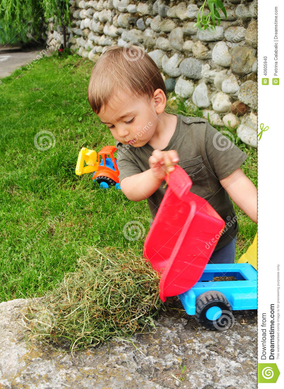 Child Playing With Dump Truck Stock Photo Image 40605940