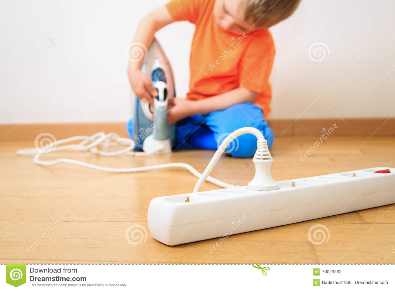 Child Playing With Electricity Kids Safety Stock Photo Image Of For