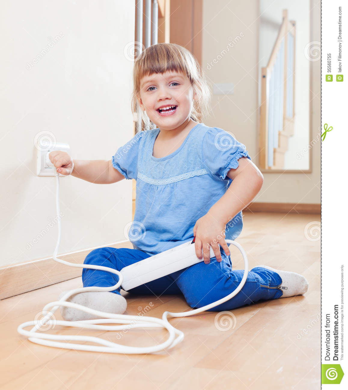 Child Playing With Electricity Stock Image Image Of
