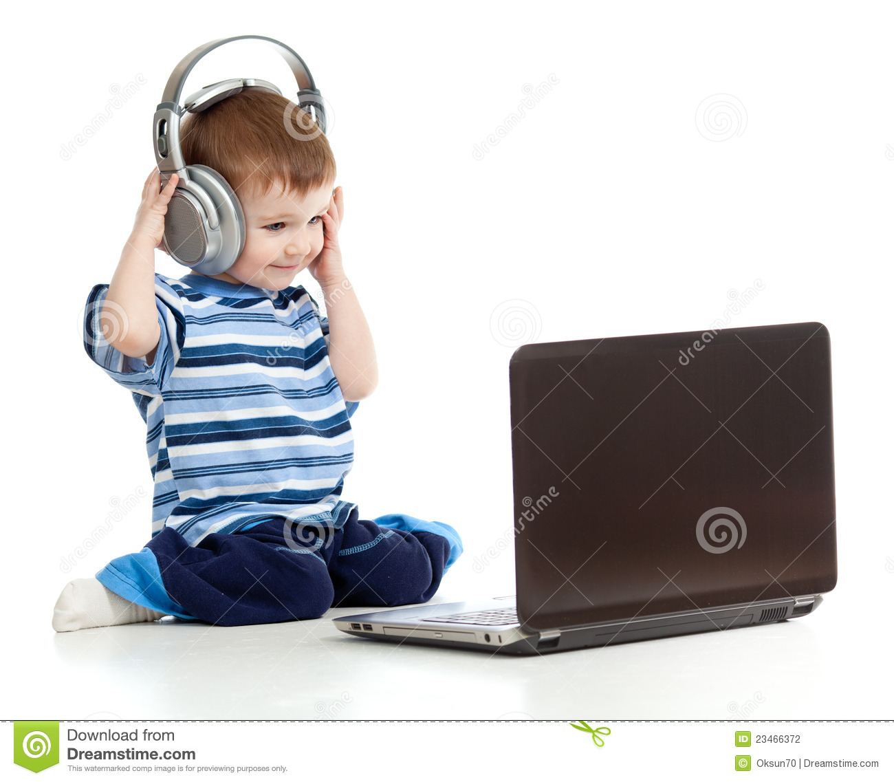 Child Playing Laptop Listen To Music In Headphones Stock ...