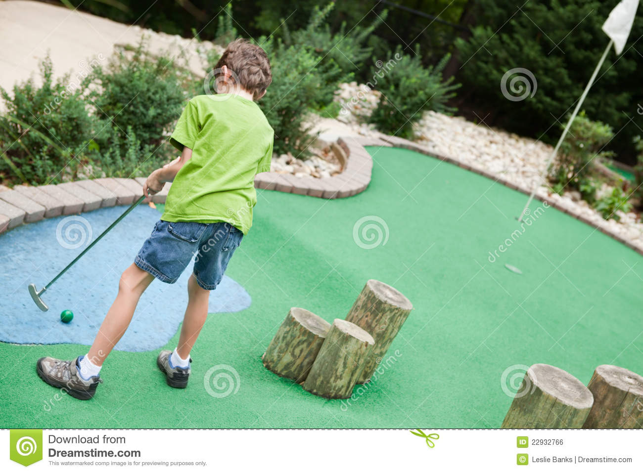 child playing miniature golf stock photo image of little. Black Bedroom Furniture Sets. Home Design Ideas