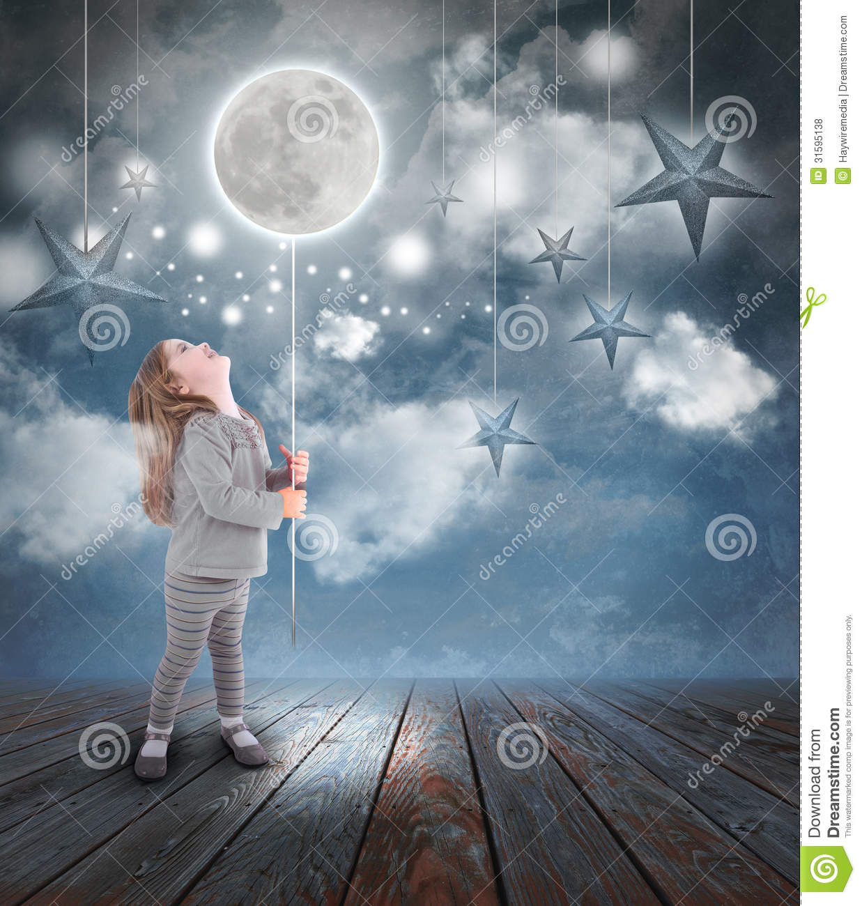 Kids at night with moon royalty free stock photography image - Child Playing With Moon And Stars At Night Royalty Free Stock Photos