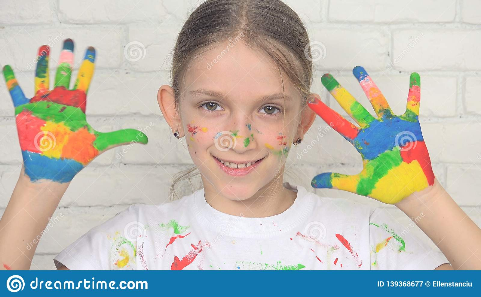 Child Playing Painted Hands, Kid Looking in Camera, Smiling School Girl Face