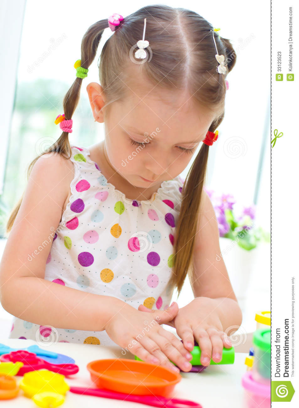 Play With Patterns Prints And Lots Of Accessories For: Child Playing With Play Dough Stock Photos