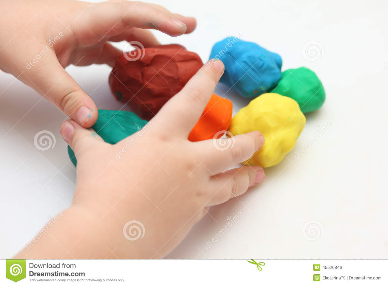 Child Playing With Playdough Stock Image
