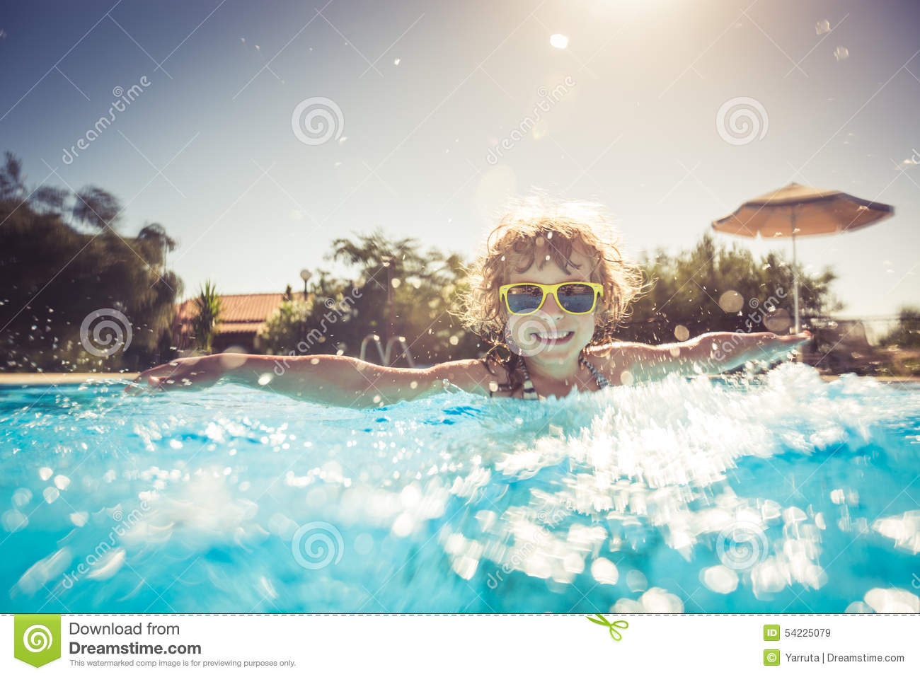 Child Playing In Swimming Pool Stock Photo Image 54225079
