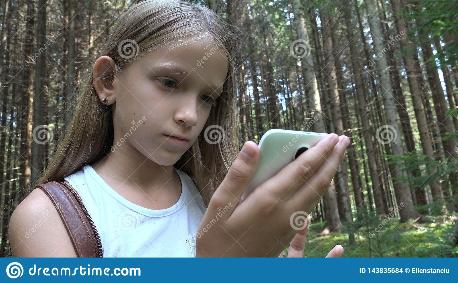 Child Playing Tablet Outdoor in Camping, Kid use Smartphone in Forest, Girl View