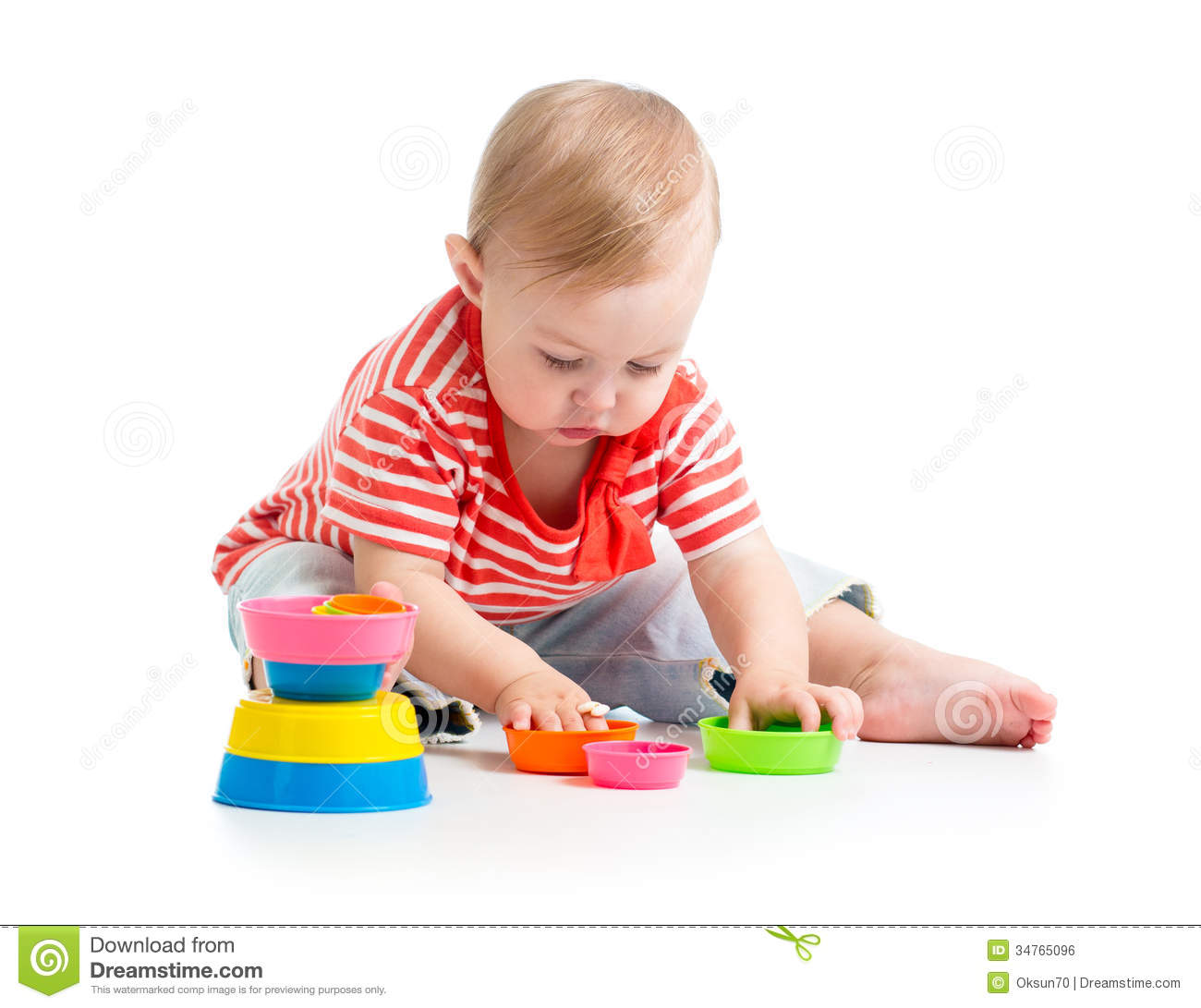 Baby Floor Toys : Child playing with toys stock photo image of game