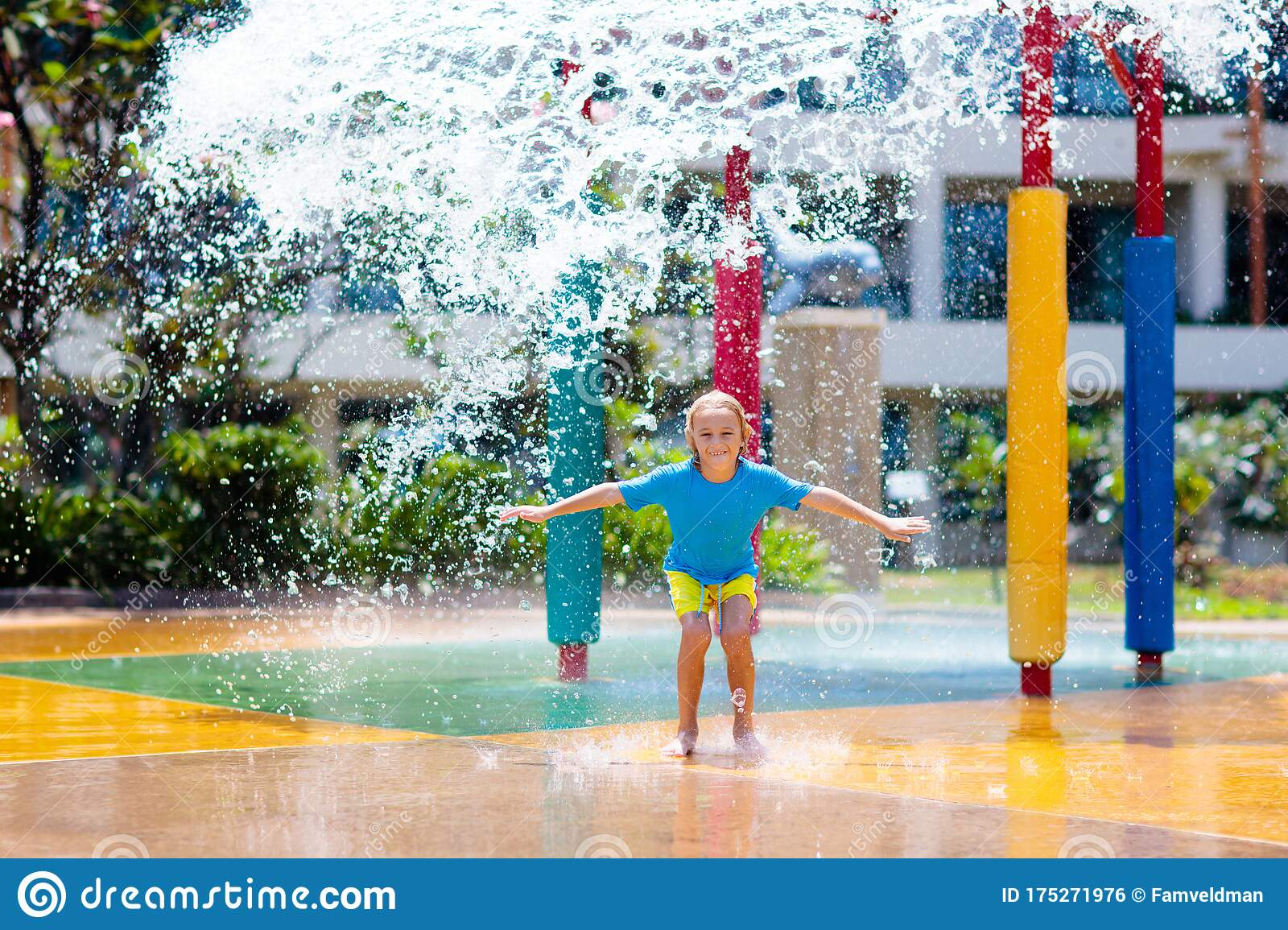 Happy Children Playing In A Fountain Stock Photo - Image