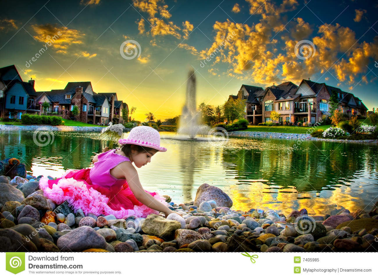 Child by the pond