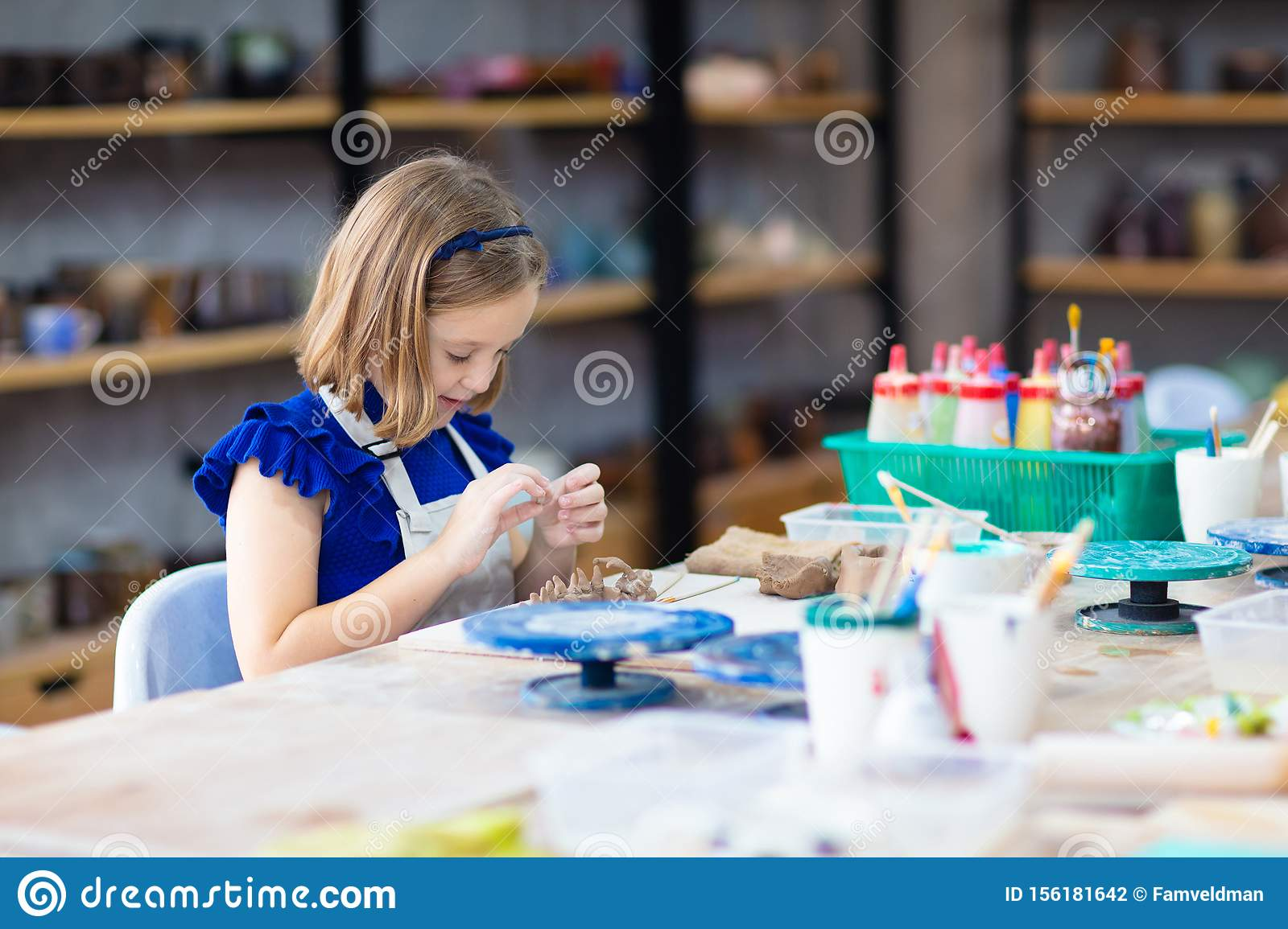 Child At Pottery Wheel Kids Arts And Crafts Class Stock Photo Image Of Ceramics Crafts 156181642