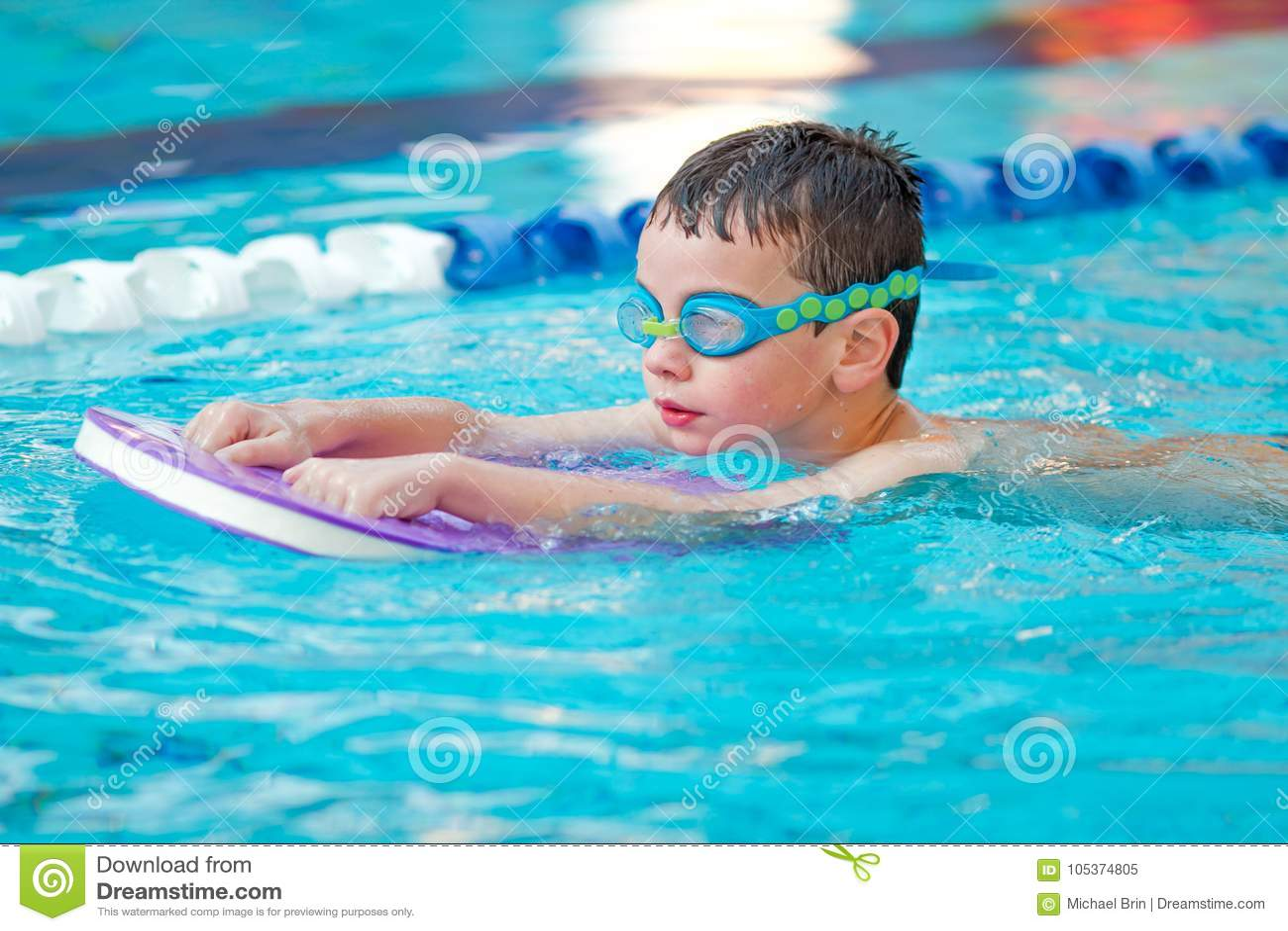 Boy Practice Swimming Stock Image Image Of Instructor 105374805